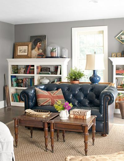 rustic farm chesterfield sofa via Country Living
