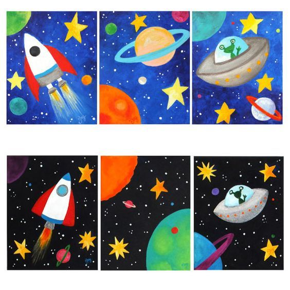 space themed wall art for kids set of 3 custom space. Black Bedroom Furniture Sets. Home Design Ideas