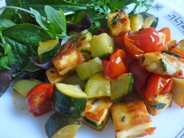 Courgette, Paneer & Cherry Tomatoes Stir-Fry   Zesty Baking