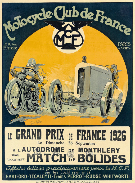 Reimpression Dune Affiche Vintage 1926 Francais Moto Grand Etsy Vintage Racing Poster Racing Posters Grand Prix Posters