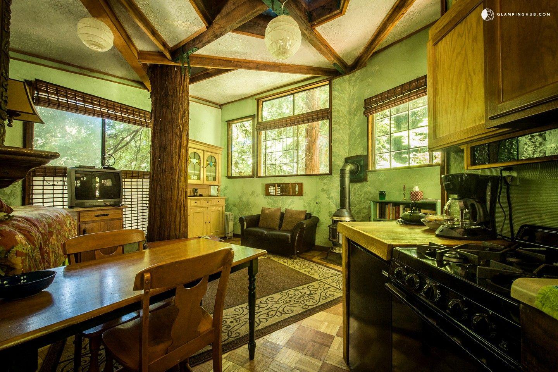 Glamping Tree House In Santa Cruz Mountains Near Monterey Bay California Luxury Tree Houses Tree House Tree House Interior