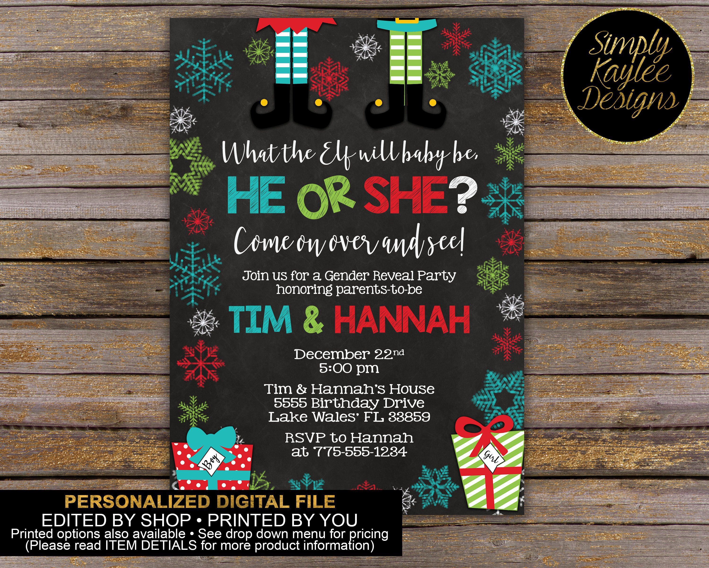 Elf Christmas Gender Reveal Party Invitation Gender