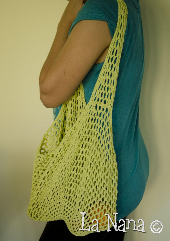 Market Bag Borsa Spesa Crochet Mercato Uncinetto Fettuccia