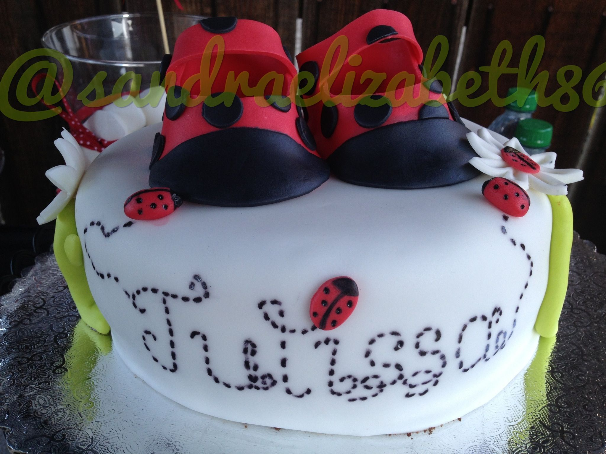 Made this one myself ladybug baby shower cake For my friend
