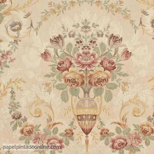 Papel pintado paris rs70201 con fondo beige rosado y for Papel pintado marron y dorado