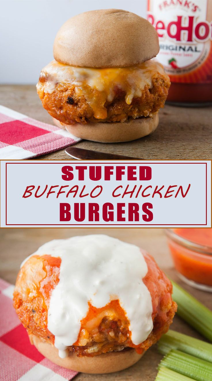 Stuffed Buffalo Chicken Burgers #stuffedburgerrecipes