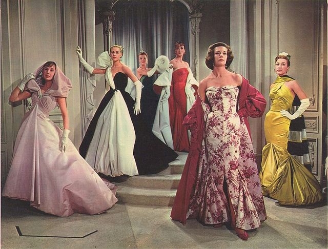 "An array of evening gowns from ""Designing Women"" 1957 ..."