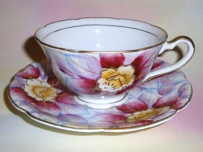 Handpainted Floral Chintz Shafford Tea Cup and Saucer Set