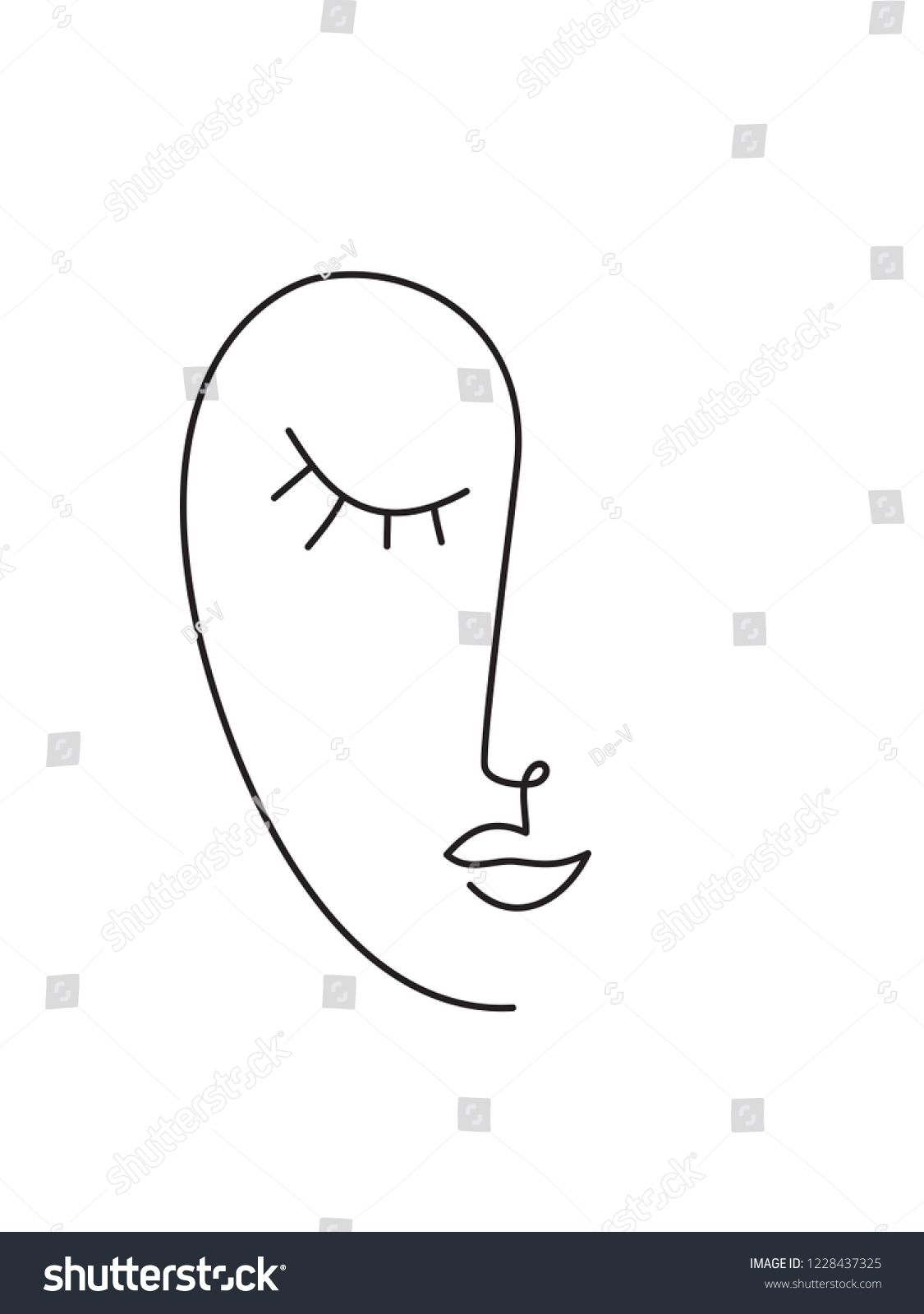 Abstract Minimal Faces Continuous Line Drawing Ad Spon