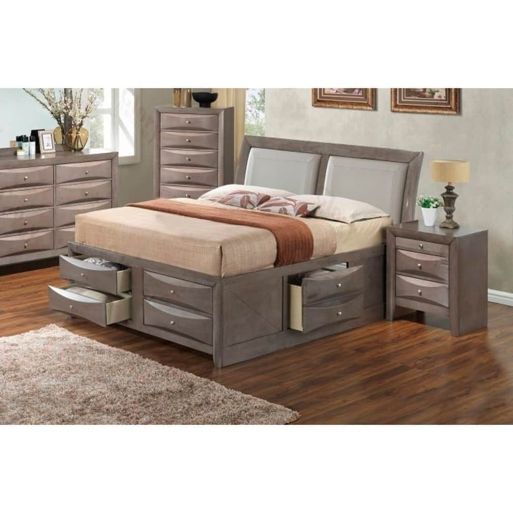 Lyke home nora king six drawer storage bed brown cappuccino