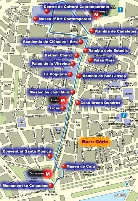 La Rambla Map Barcelona Spanien Mallorca Spanien