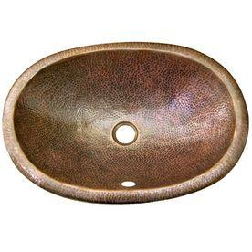 Houzer Hammerwerks Copper Copper Drop In Elliptical Bathroom Sink