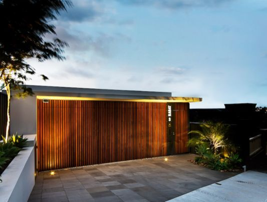 Modern Wooden Gate With Light