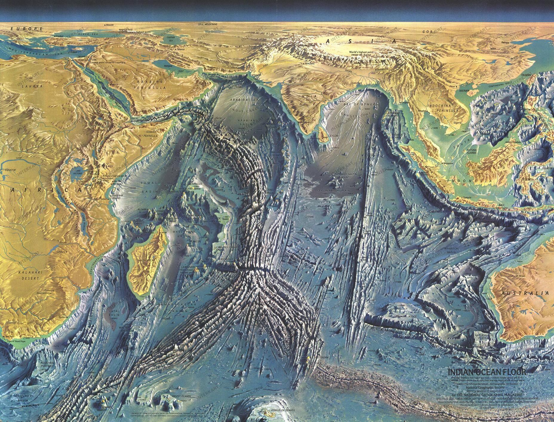 Indian Ocean Floor By Natgeo 1967 Map Indianocean Bathymetry