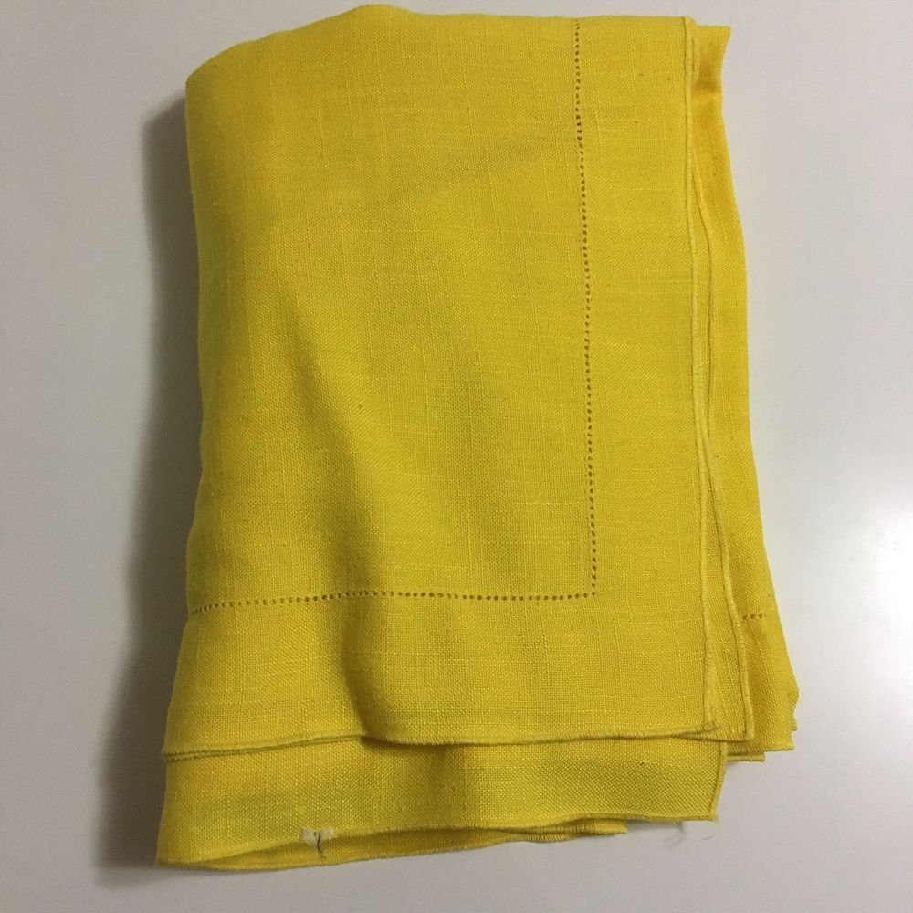 VTG Tablecloth 60 X 80 Bright Pastel Yellow Solid Linen Fabric Hem Stitched