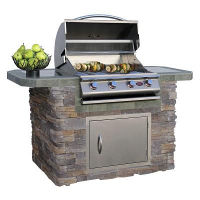 Cal Flame 6 Ft Stone Veneer And Tile Grill Island With 4 Burner Gas Grill In Stainless Steel Lbk 601 As The Home Depot Outdoor Kitchen Grill Bbq Island Backyard Grilling