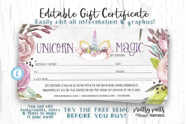 Editable Gift Certificate Unicorn Magic Voucher Printable Gift - Numbered gift certificate template