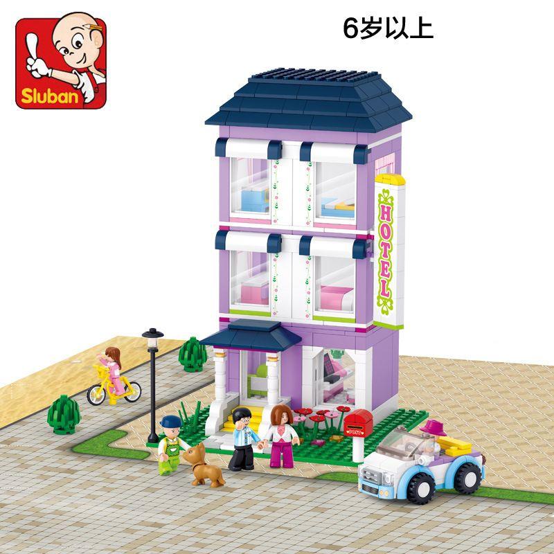 Sluban model building kits compatible with lego city villa 642 3D ...