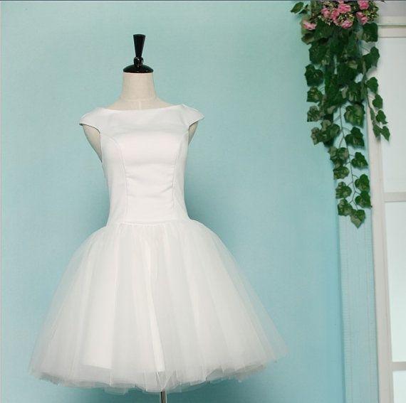 Vintage Inspried Audrey Hepburn Satin Tulle Wedding Dress Bridesmaid ...