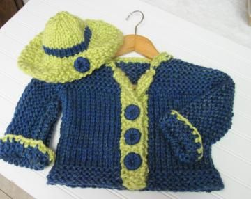 Toddler Jacket and Hat in  Bulky Knit Pattern Child 3 to 8 years old by LaurelArts for $5.00