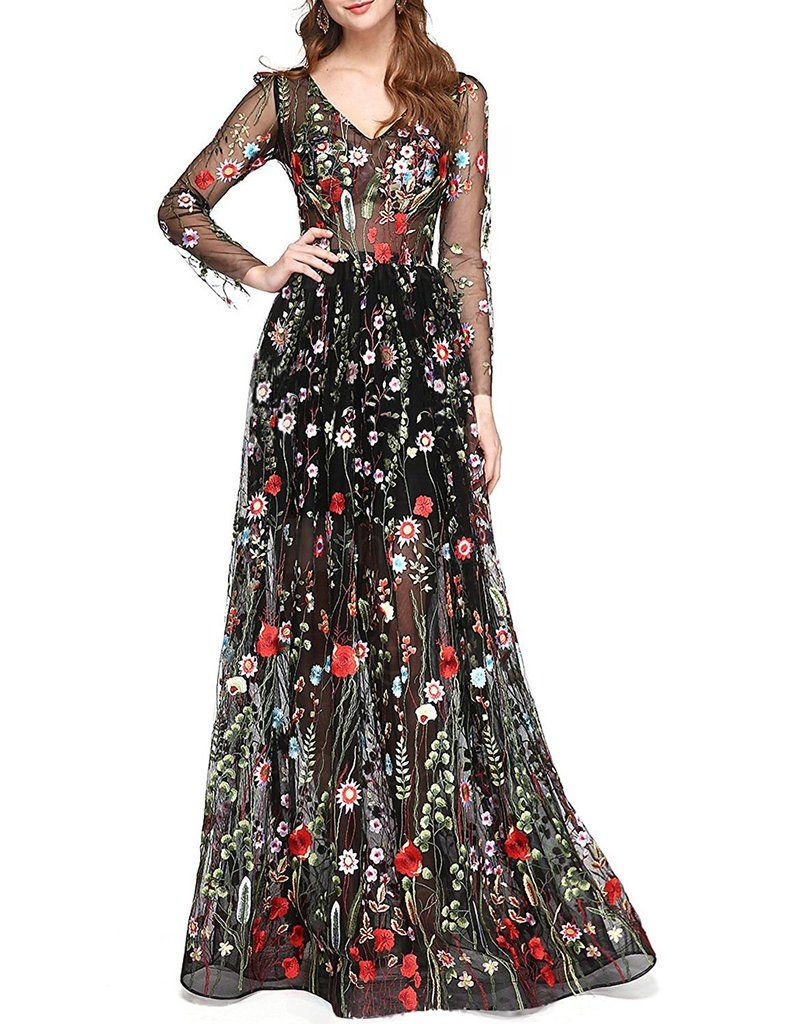 Long Sleeve Lace Floral Prom Dress Prom Dresses Long With Sleeves Floral Prom Dresses Unique Prom Dresses [ 1024 x 785 Pixel ]