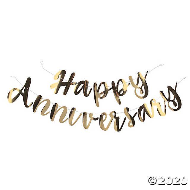 Gold Happy Anniversary Foil Script Banner Script Banner Happy Anniversary Happy Anniversary Wedding