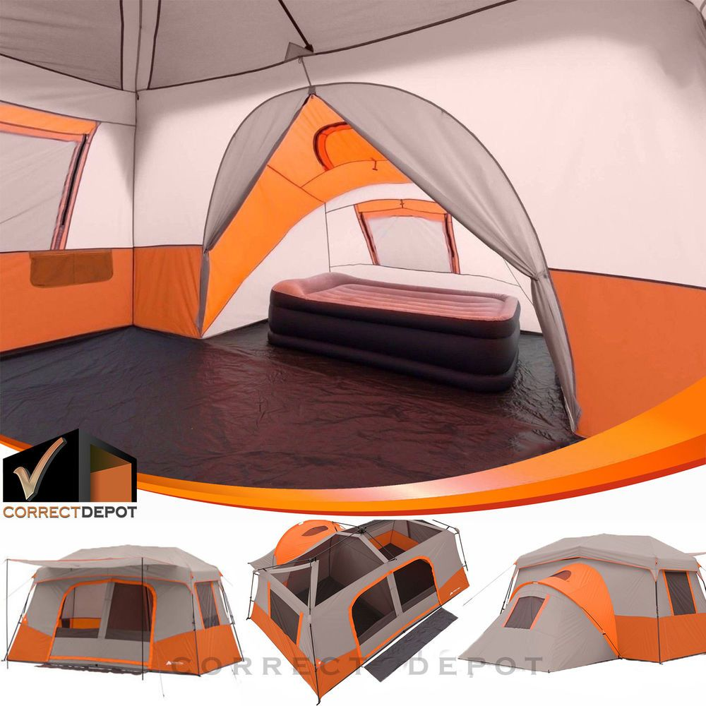 Details about 11 Person 3 Room Instant Cabin Tent Ozark Trail Outdoor Camping & Private Room