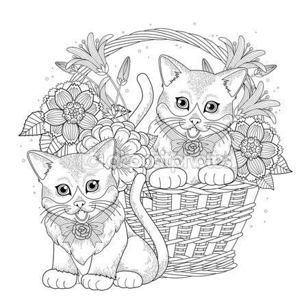Página para colorear de kitty adorable — Vector de stock | Animales ...