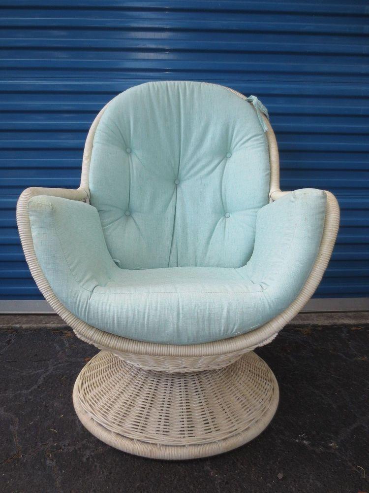 Vtge Wicker Womb Chair Egg Pod Rattan Swivel Mid Century