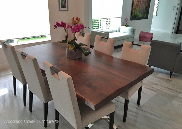 Modern Wood Dining Table Natural Edges Stainless Steel Wood