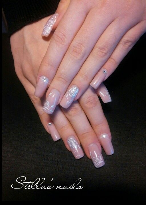 Sculpted Acrylic Nails Nude With Romantic Nail Art My Older Works