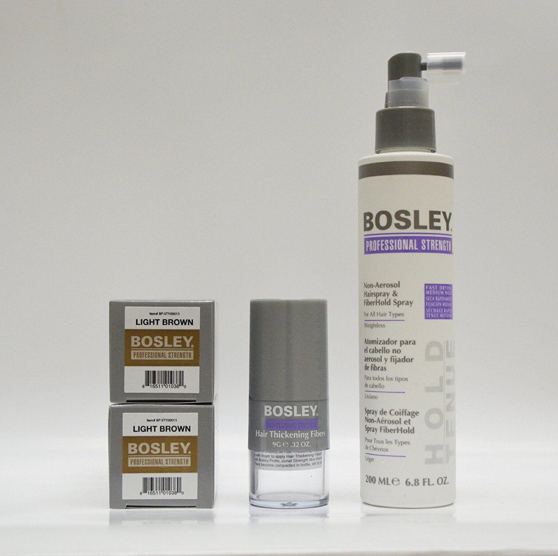 Bosley Hair Thickening Fibers, Light Brown (Pack of 2