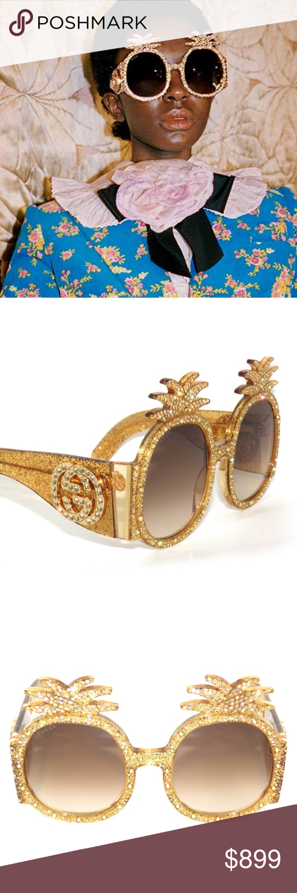 b0a82a51ec8 GUCCI GG0150S PINEAPPLE CRYSTALS GOLD SUNGLASSES GUCCI GG0150S PINEAPPLE  CRYSTALS GOLD BROWN 001 SunglaSSeS AUTHENTIC AND BRAND NEW IN ORIGINAL  PACKAGING ...