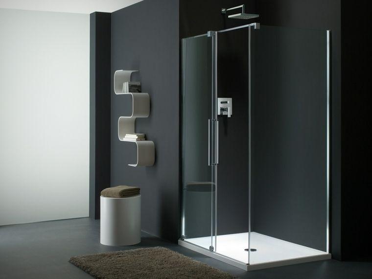 salle de bain idée aménagement cabine douche carrelage noir tapis ...