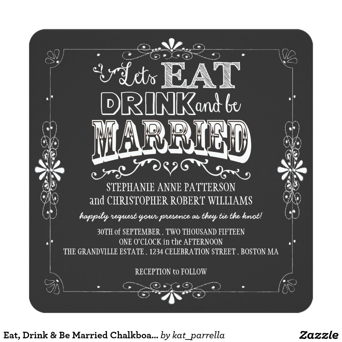 eat, drink & be married chalkboard style wedding card, Wedding invitations