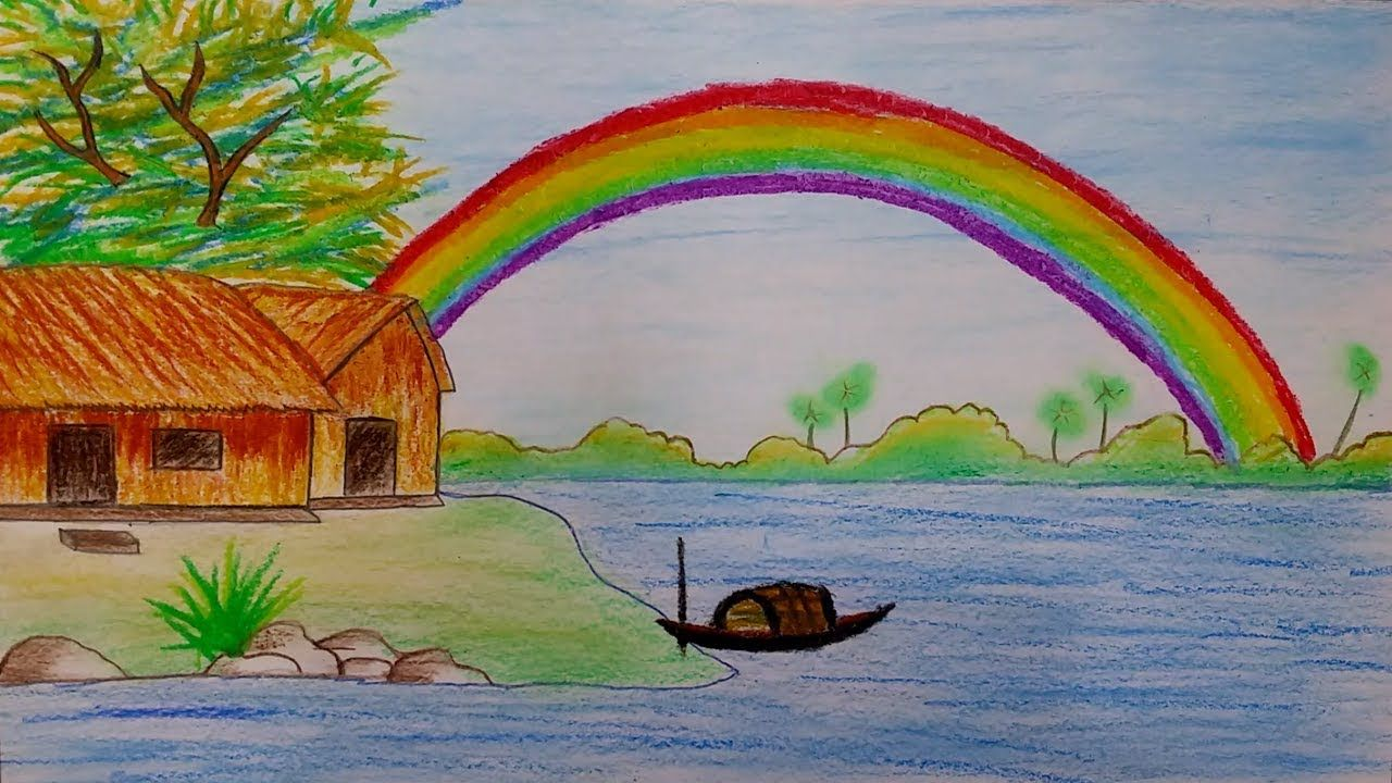 How To Draw Rainbow Scenery Step By Step Landscape Drawing For Kids Youtube Art Drawings For Kids Nature Drawing For Kids Landscape Drawing For Kids