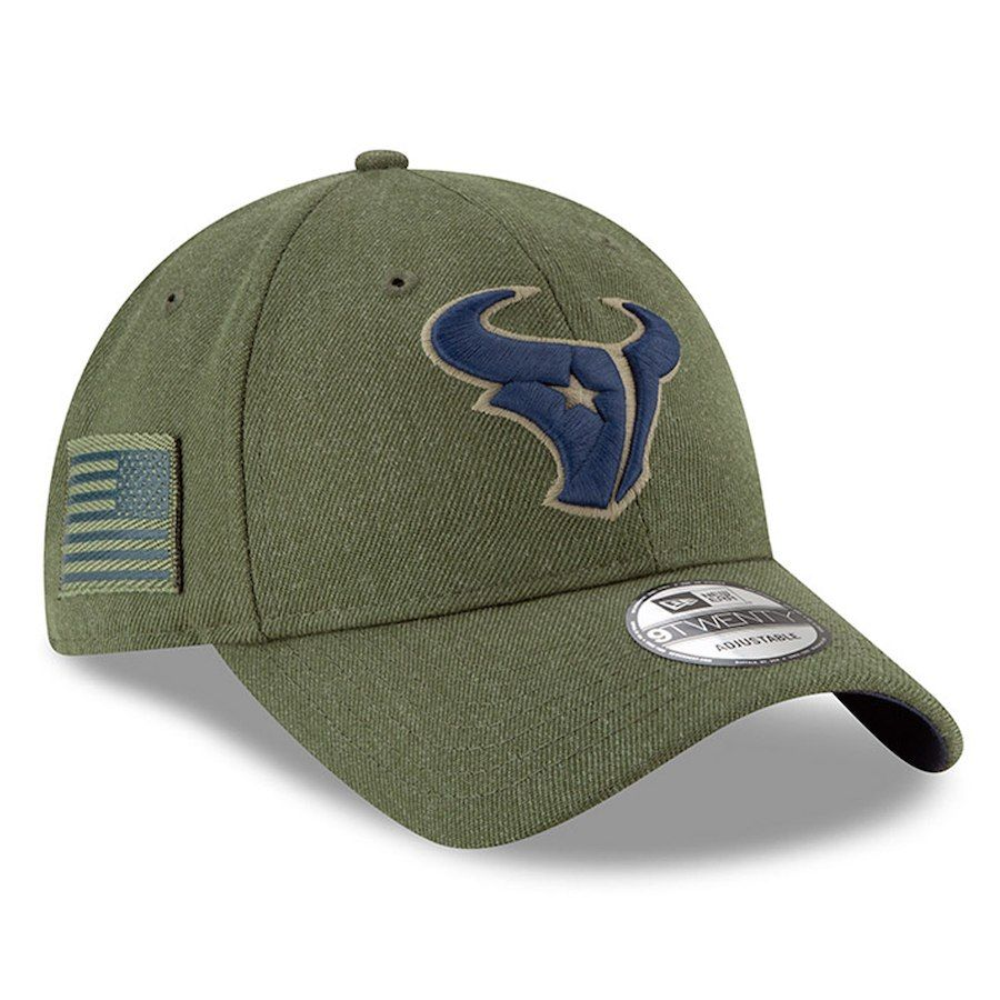 7395d7b69e7 Women s Houston Texans New Era Olive 2018 Salute to Service Sideline  9TWENTY Adjustable Hat