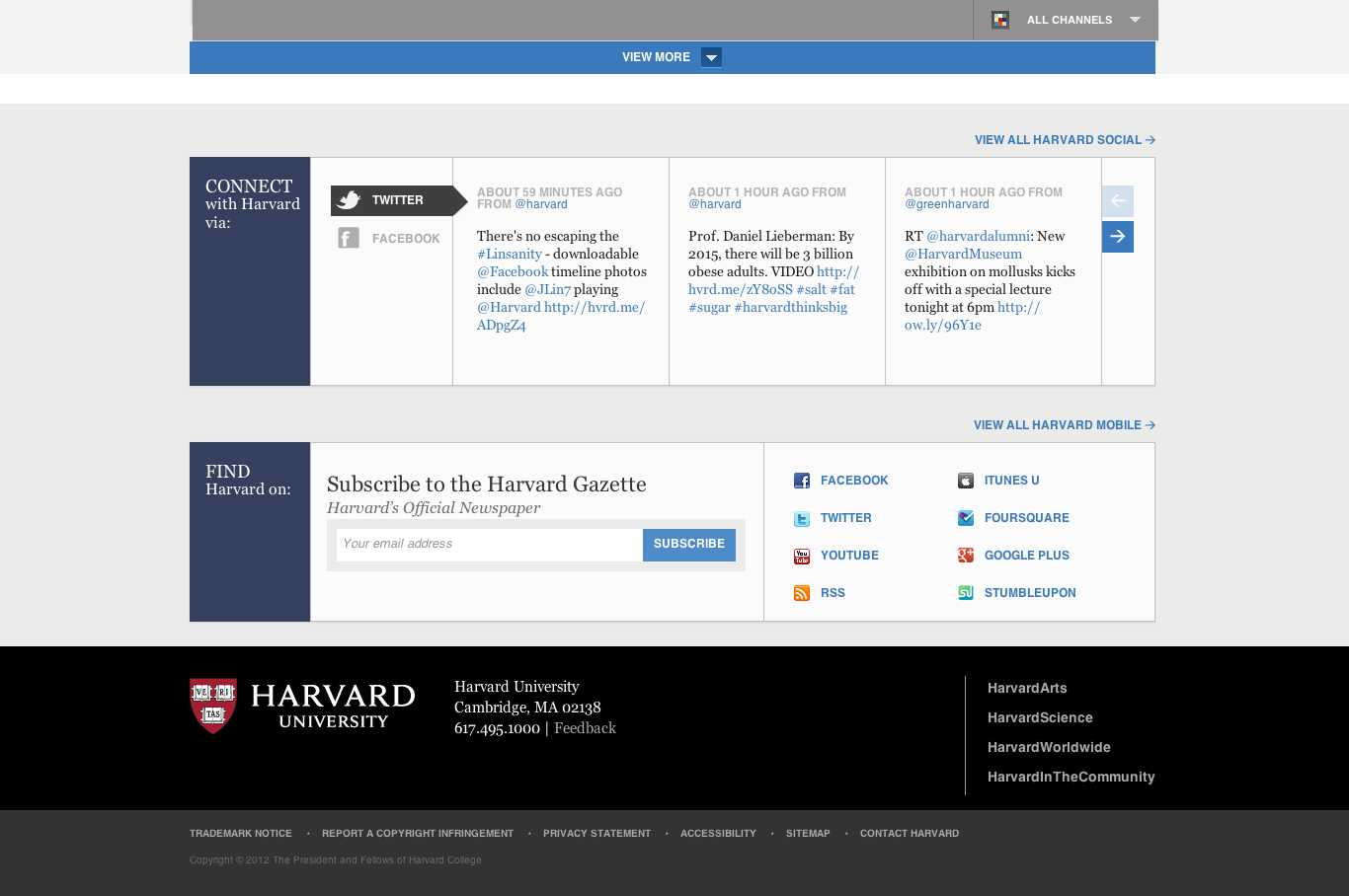 Harvard University Home Page With A Social Media Area And Footer Website Facebook Timeline Photo Interactive Design How To Reference Quote From