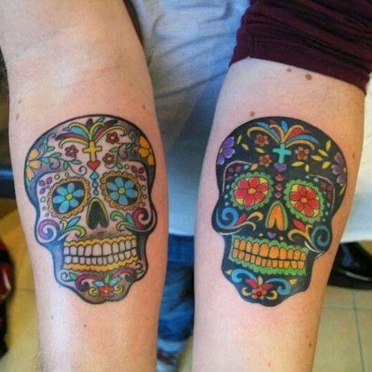 9a153d824c751 Forearm sugar skulls by Adam Sky at Rose Gold's Tattoo; San Francisco, CA.