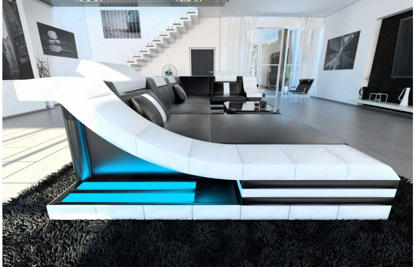 Unique  Moderne Design Wohnlandschaft TURINO U Form aus Leder mit LED Beleuchtung