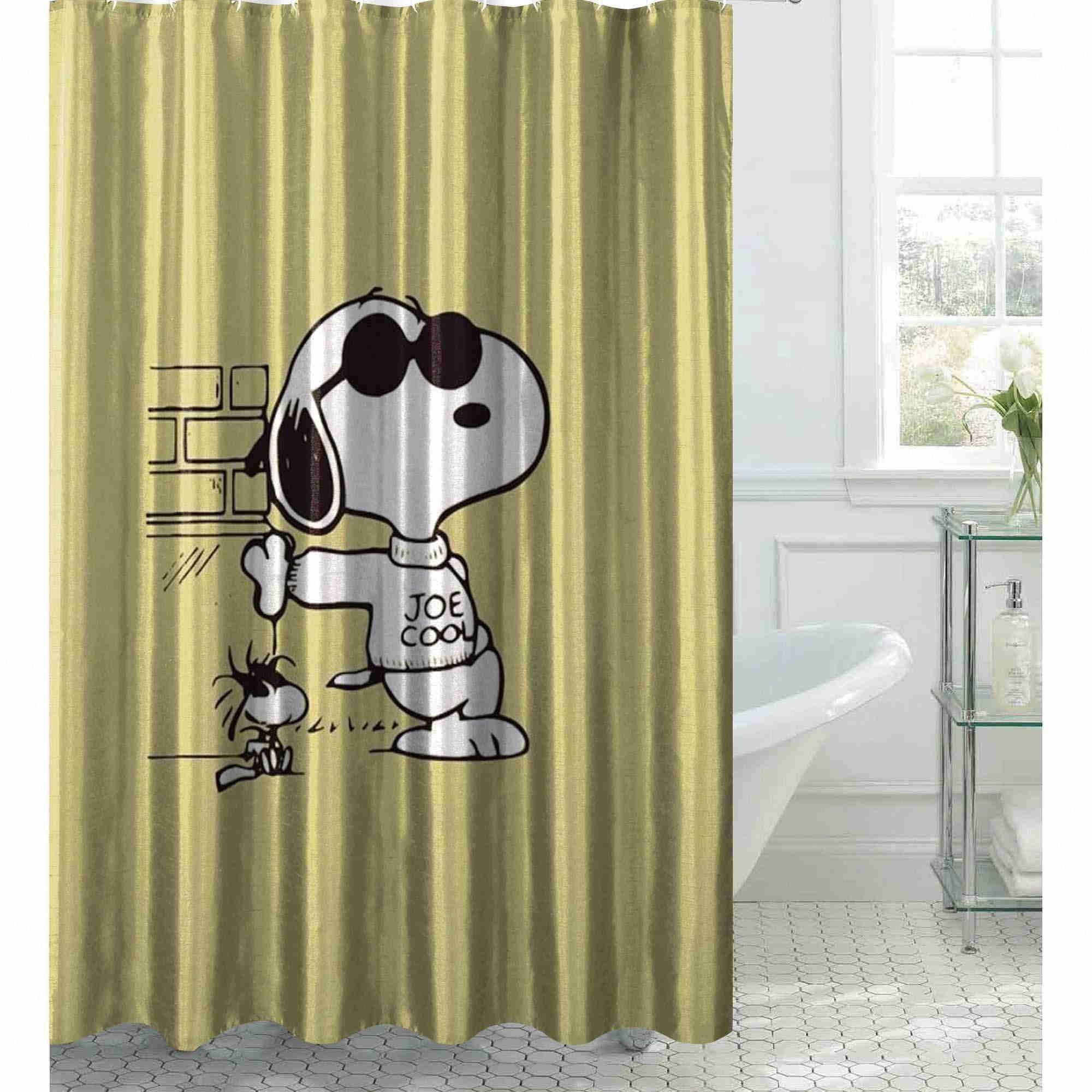 Snoopy fictional cartoon characters bathroom shower curtain