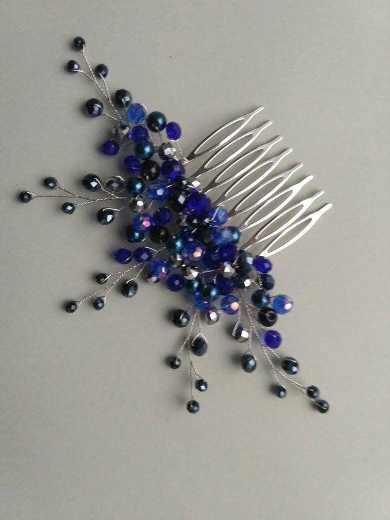 Wedding hair piece Navy blue hair comb Something blue Sapphire blue hair jewelry Blue headpiece wedding jewelry blue bridal hair jewelry #weddinghairjewelry