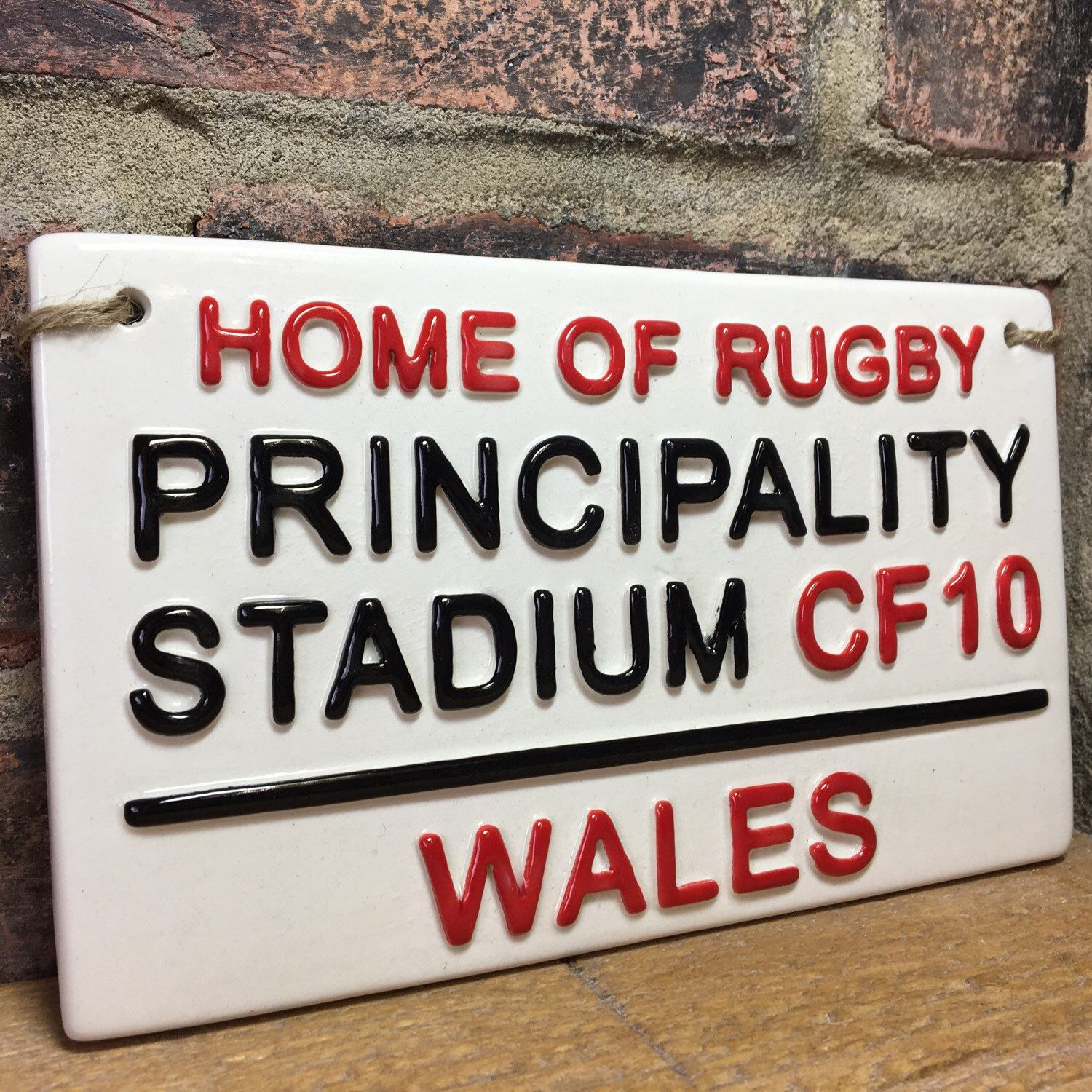 Principality Stadium Home Of Rugby Wales Rugby Street Sign Rugby Gift Rugby Union Sports Plaque Fathers Day Gift England Rugby Gifts For Him Pottery Kiln Street Signs Earthenware Clay