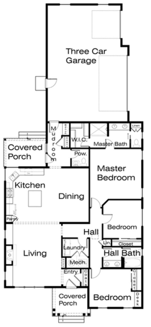 House Plan - 3 Beds 2.5 Baths 1860 Sq/Ft Plan #434-9 Floor Plan - Main Floor Plan - Houseplans.com