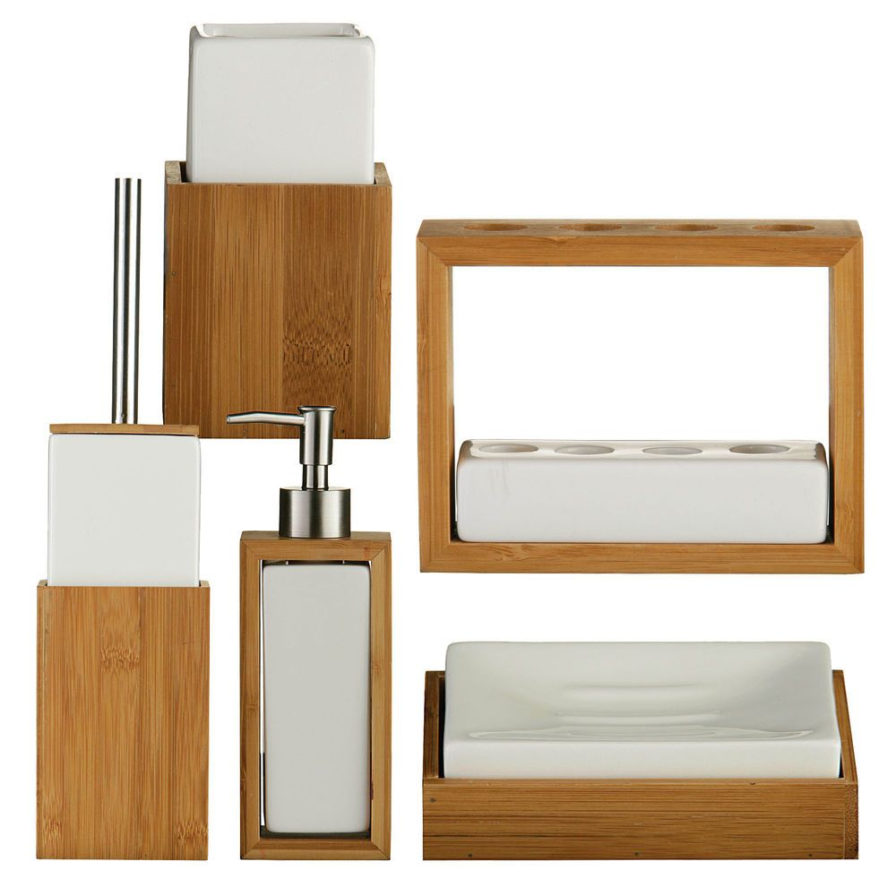 Bamboo wood white ceramic bathroom accessory set of 5 for Ceramic bath accessories