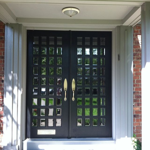 Double front doors with small beveled glass panes in Short Hills, NJ ...