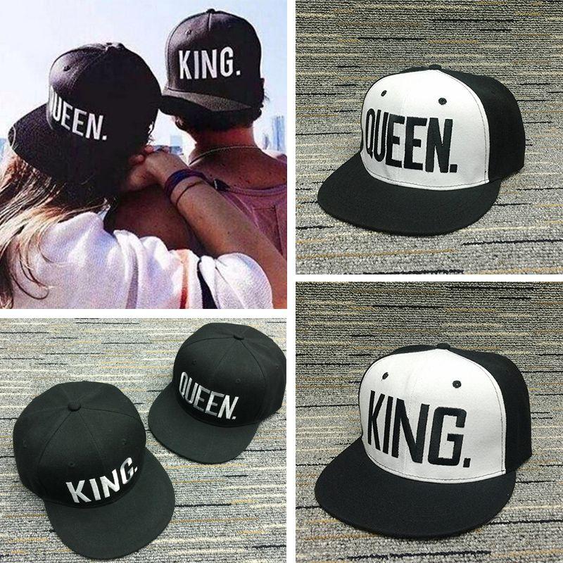 83f4cf79886a8 comprar Rey Queen carta bordado gorra de béisbol para los amantes SnapBack  sombreros hombres mujeres gorras sombreros ajustables de hip hop masculino  ...