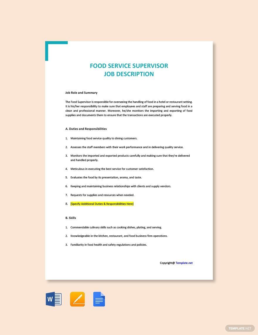 FREE Food Service Supervisor Job Ad/Description Word