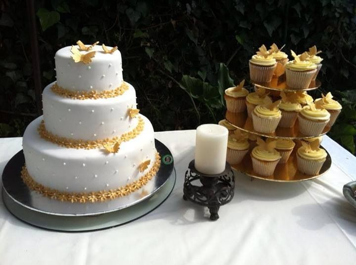 Wedding cake and cupcakes!