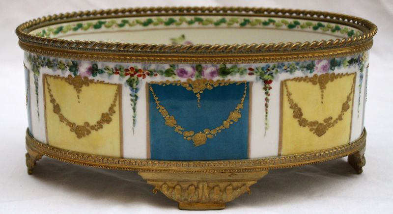 MAGNIFICENT 19C SEVRES HP ENAMEL CENTER BOWL